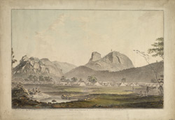The British Army encamped below the rock of Sholingarh.  28 September 1781.